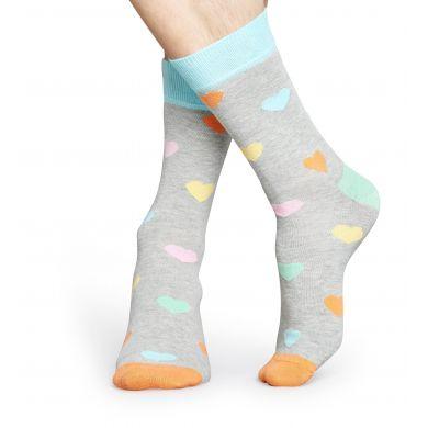 Šedé ponožky Happy Socks s barevnými srdíčky, vzor Heart