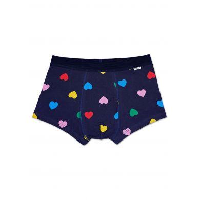 Modré boxerky Happy Socks s barevnými srdíčky, vzor Heart