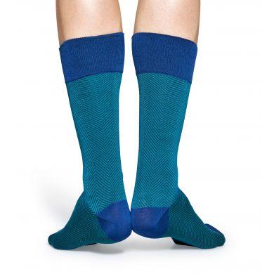 Tyrkysové ponožky Happy Socks se vzorem Herringbone // kolekce Dressed