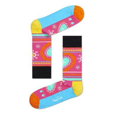 Růžovo-tyrkysové ponožky Happy Socks s barevným vzorem Hippie