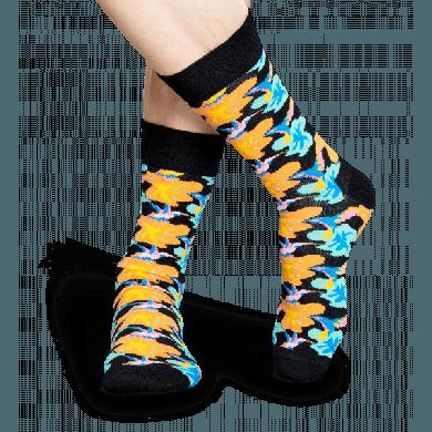 Modré ponožky Happy Socks s barevnými kolibříky, vzor Hummingbird