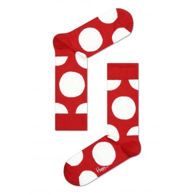 Červené ponožky s bílými kruhy