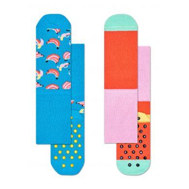 Dětské protiskluzové ponožky Happy Socks, dva páry – vzor Banana