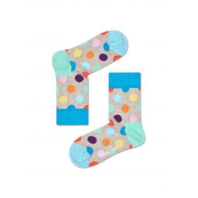 Dětské béžové ponožky Happy Socks s barevnými puntíky, vzor Big Dot