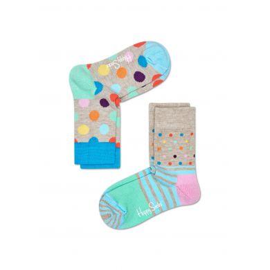 Dětské barevné ponožky Happy Socks, dva páry – vzory Big Dot a Stripes and Dots