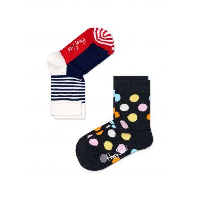 Dětské barevné ponožky Happy Socks, dva páry – vzory Half Stripe a Big Dot