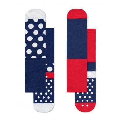 Dětské modré protiskluzové ponožky Happy Socks, dva páry – vzor Big Dot