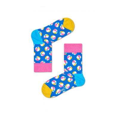 Dětské modré ponožky Happy Socks s barevnými míčky, vzor Balls