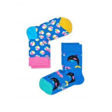 Dětské barevné ponožky Happy Socks, dva páry – vzory Balls a Dolphins