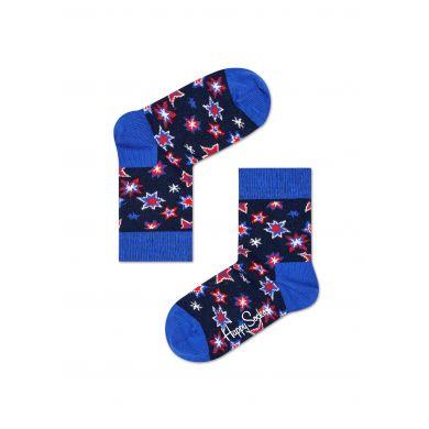 Dětské modré ponožky Happy Socks s barevným vzorem Bang