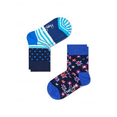 Dětské barevné ponožky Happy Socks, dva páry – vzory Bang a Stripe Dot