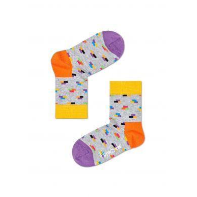 Dětské šedé ponožky Happy Socks s barevnými cihlami, vzor Bricks