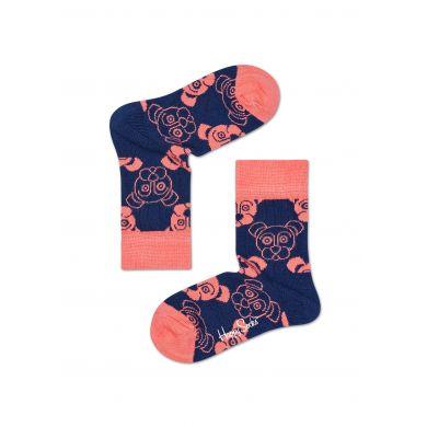 Dětské modré ponožky Happy Socks s růžovými pejsky, vzor Dogs