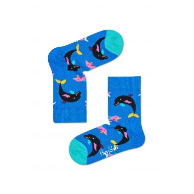 Dětské modré ponožky Happy Socks s barevnými delfíny, vzor Dolphins