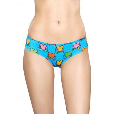 Modré cheeky kalhotky Happy Socks s barevnými srdíčky, Valentine´s day X Keith Haring