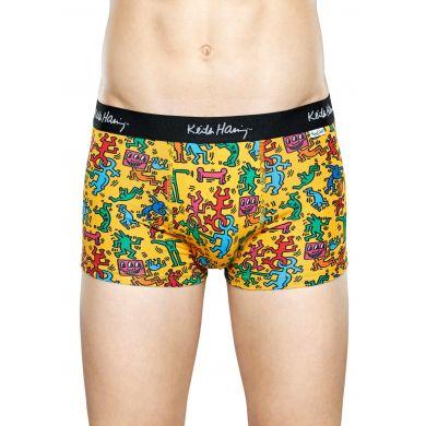 Žluté boxerky Happy Socks s barevnými panáčky, Valentine´s day X Keith Haring