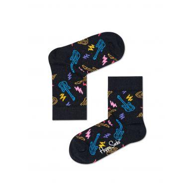 Dětské černé ponožky Happy Socks s kytarami, vzor Guitarra