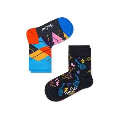 Dětské barevné ponožky Happy Socks, dva páry – vzory Guitarra a Argyle
