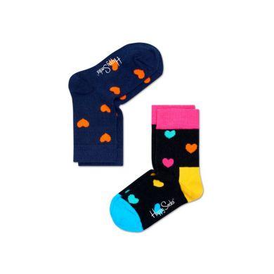 Dětské barevné ponožky Happy Socks, dva páry - srdíčka