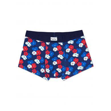 Modré boxerky s barevnými květinami, vzor Kimono