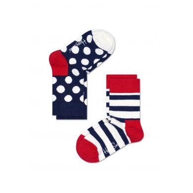 Dětské barevné ponožky Happy Socks, dva páry - puntíky a proužky