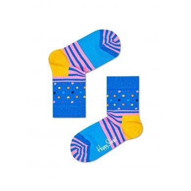 Dětské modré ponožky Happy Socks s barevným vzorem Stripe Dot