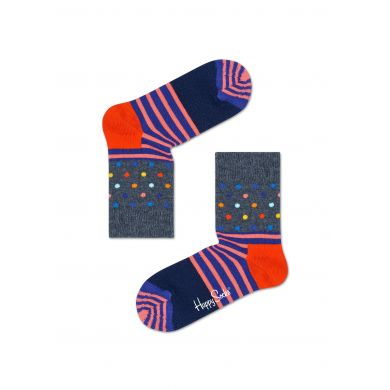 Dětské šedé ponožky Happy Socks s barevným vzorem Stripe Dot