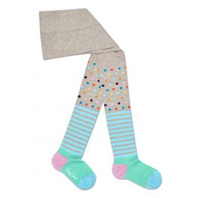 Dětské béžové punčochy Happy Socks, barevný vzor Stripe Dot