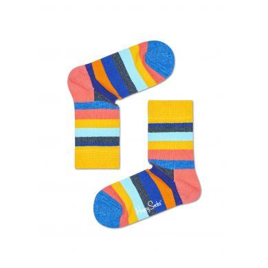 Dětské žluté ponožky Happy Socks s barevnými pruhy, vzor Stripe