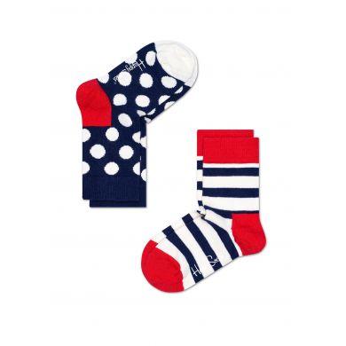Dětské modro-bílé ponožky Happy Socks, dva páry – Stripes a Big Dot