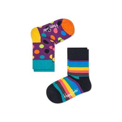 Dětské barevné ponožky Happy Socks, dva páry – Big Dot a Stripe