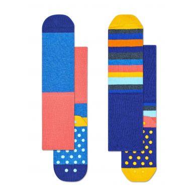 Dětské modré protiskluzové ponožky Happy Socks, dva páry – vzor Stripes
