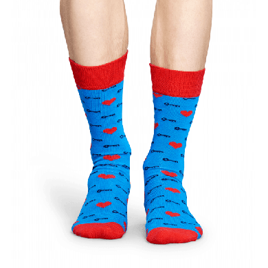 Modré ponožky Happy Socks se srdíčky a klíčky, vzor Key to my heart