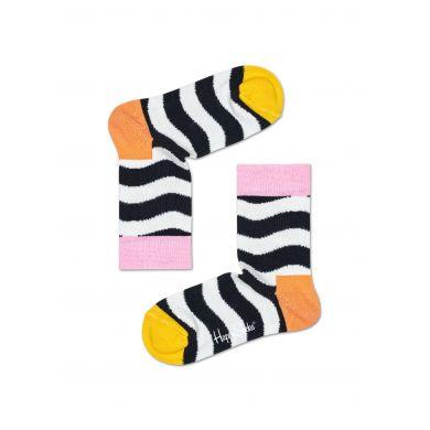 Dětské černobílé ponožky Happy Socks s vlnami, vzor Wavy