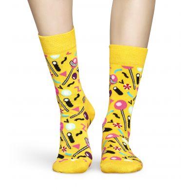 Žluté ponožky Happy Socks s barevnými lízátky, vzor Lollipop