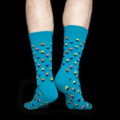 Modré ponožky Happy  Socks s barevnými kosočtverečky, vzor Mini Diamond