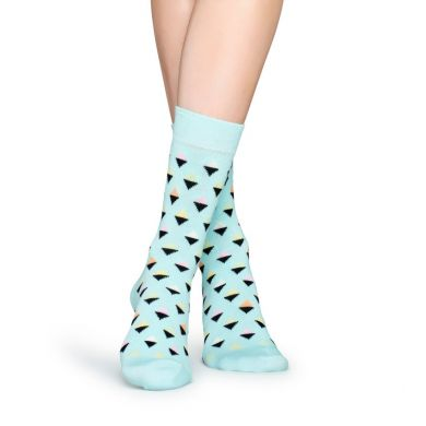 Světle modré ponožky Happy Socks s barevnými kosočtverečky, vzor Mini Diamond