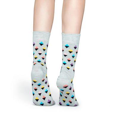 Šedé ponožky Happy  Socks s barevnými kosočtverečky, vzor Mini Diamond