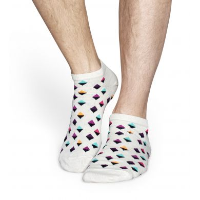 Nízké bílé ponožky Happy Socks s barevným vzorem Eighties