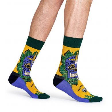 Žluté ponožky Happy Socks s barevným vzorem Sword Skull x Megan Massacre