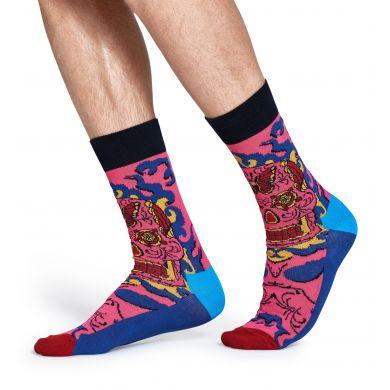 Růžové ponožky Happy Socks s barevným vzorem Butterfly Skull x Megan Massacre