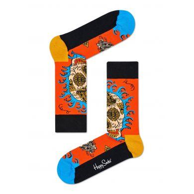 Oranžové ponožky Happy Socks s barevným vzorem Leaf Skull x Megan Massacre