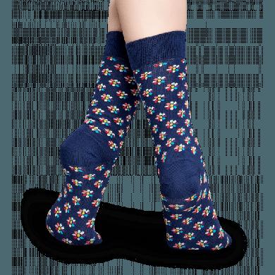 Modré ponožky Happy Socks s barevnými kvítky, vzor Flower
