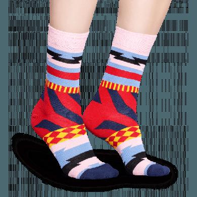 Růžové ponožky Happy Socks s různými barevnými motivy, vzor Mix Max