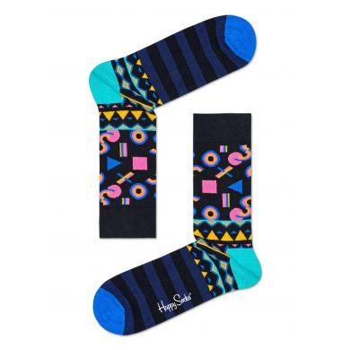 Modré ponožky Happy Socks s různými barevnými motivy, vzor Mix Max