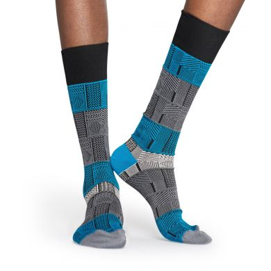 Šedo-modré ponožky Happy Socks, vzor Mix