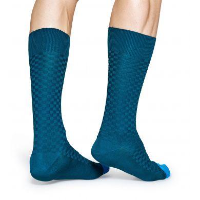 Zeleno-modré ponožky Happy Socks, vzor Moss Knit // kolekce Dressed