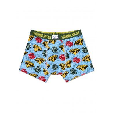 Modré boxerky Happy Socks s diamanty a dolary, vzor D&D // kolekce Billionare Boys Club