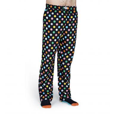 Černé kalhoty Happy Socks s barevnými puntíky, vzor Big Dot