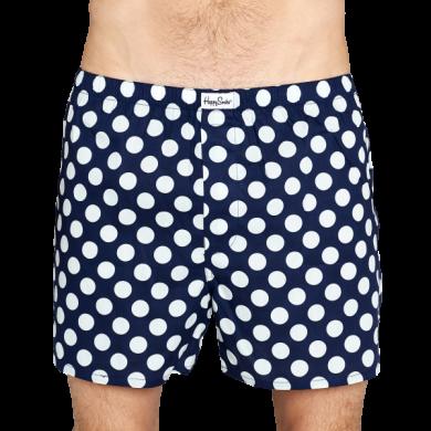 Modré trenýrky Happy Socks s bílými puntíky, vzor Big Dot
